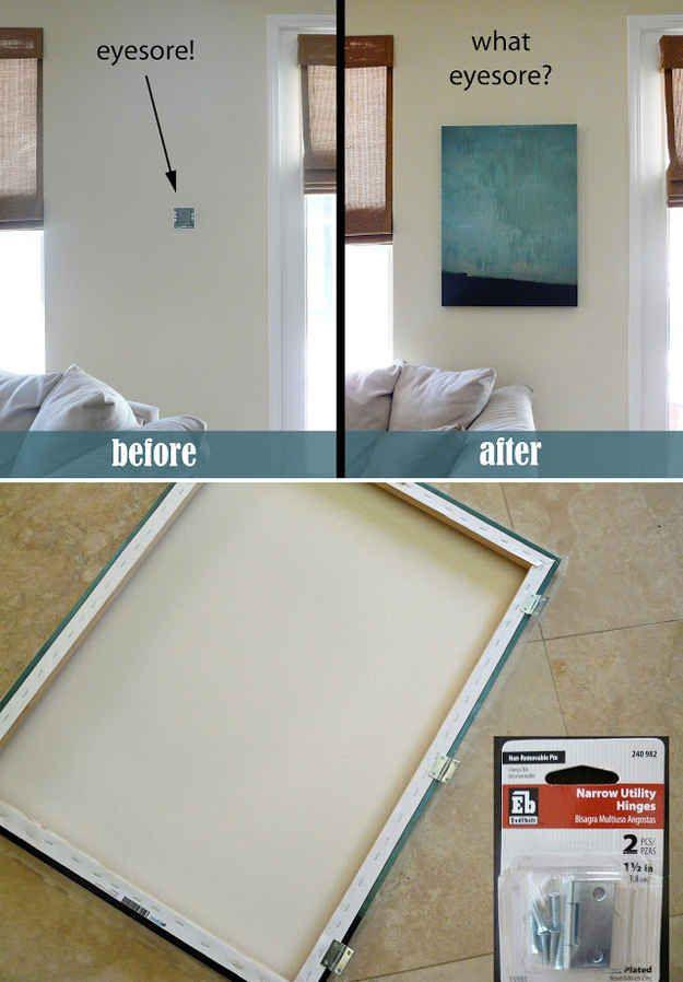 Esconde del mismo modo un termostato o una alarma residencial, con un lienzo que gire sobre bisagras