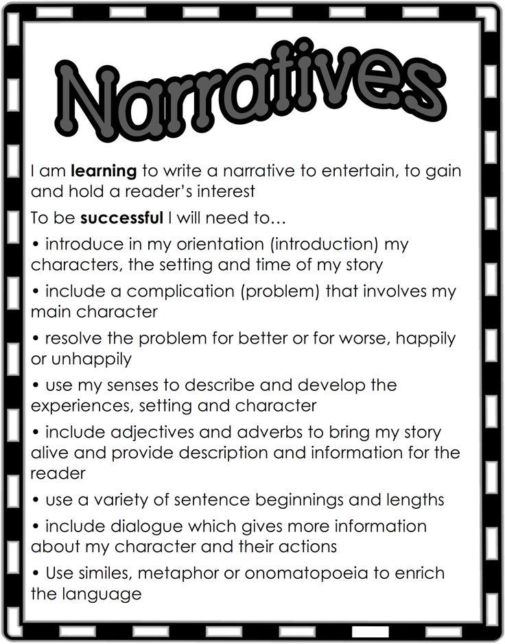 Narrative checklist for children's books. Classroom Treasures: Narrative Writing