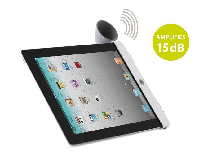 The iPad Hornstand amplifies by up to 15db!