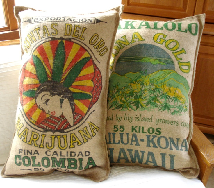 Colombia cannabis burlap pillow, xlarge marijuana hemp pillow. $70.00, via Etsy.