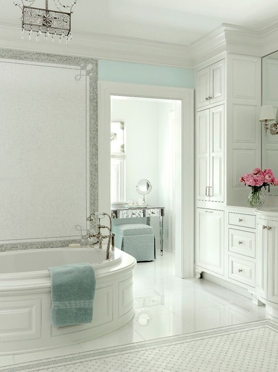 Turquoise Bathrooms Timeless And Captivating Interior: At Home St Louis: White And Turquoise Blue Master Bath