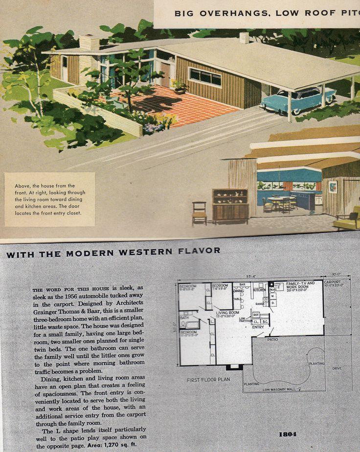 Sleek Midcentury Modern Floor Plan With A Carport Mid Century Modern House Mid Century Modern House Plans Mid Century House