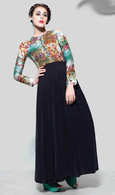 Style yourself with delicacy wearing this black color printed georgette gown. The printed work appears chic and excellent for any event.  #gowndesign2015 #floralprintgown #fancygown