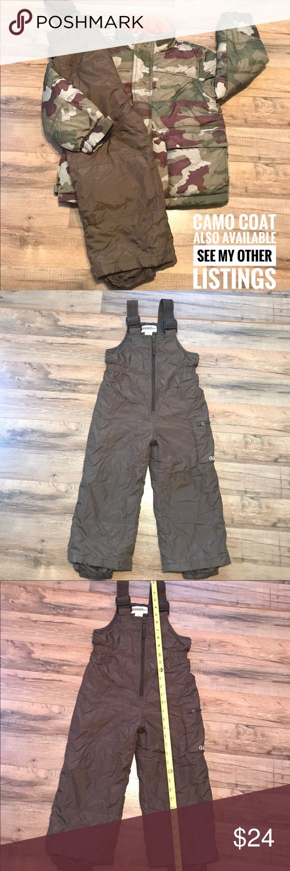 Gander Mountain Boy Ski Bibs Youth XS Brown Winter Brand:  Gander Mountain  Size:  Youth XS. (Please see photos for measurements)  Condition:  gently used; excellent preowned condition.  No rips, holes, tears, etc. Gander Mountain Other