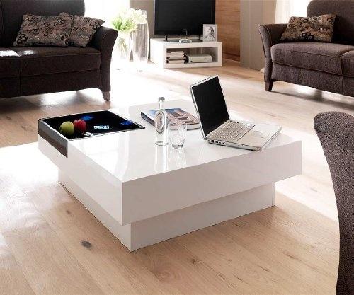 magica couchtisch 90x90 cm hochglanz weiss schwarz mit tablett moderner couchtisch wohnideen. Black Bedroom Furniture Sets. Home Design Ideas