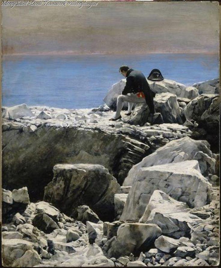 C'est fini, L'empereur en exil est represente dans une attitude melancolique seul sur un rocher de l'ile Sainte-Helene by Oscar Rex.