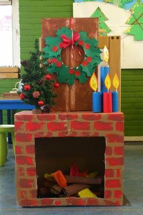 sinterklaasschoorsteen aangepast aan de kerst