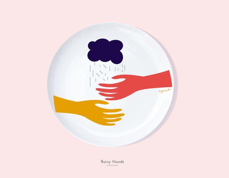 Secon Life of Plates / RAINY HANDS / Lapinska Porcelain /  www.lapinska-porcelana.com plate porcelain lapinska