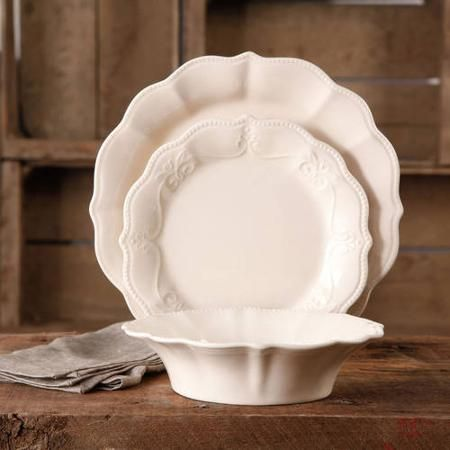 The Pioneer Woman Paige 12-Piece Crackle Glaze Dinnerware  Set - Walmart.com- In Linen, enough sets for 8 people