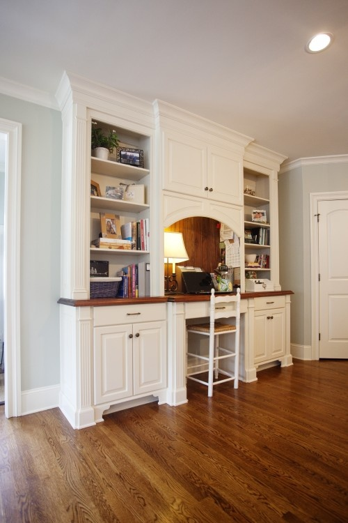 1000 images about office built ins on pinterest for Built in kitchen desk ideas