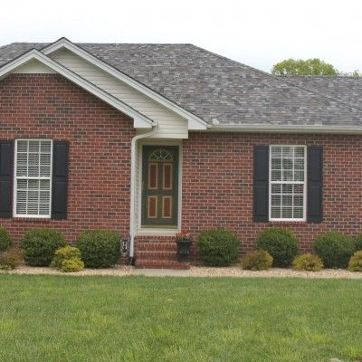 Red brick house with newly shingled roof updating home for Best roof color