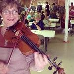 Marcia Sterling, of Best Little Klezmer Band in Texas, plays at The Hot Springs Community Dinner for hikers, locals and visitors. May 2013
