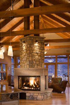 three or four sided fire pit centrally located in the great hall area timber traditional traditional living room denver gerber berend design build