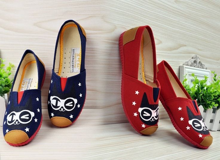 #womensshoes  Lady Boat Shoes cat face Vogue Cute Cat Dog Face Womens Shoes Loafers Ballerina Low Heel Comfort Flats Shoe Women by ShoesWeekly on Etsy