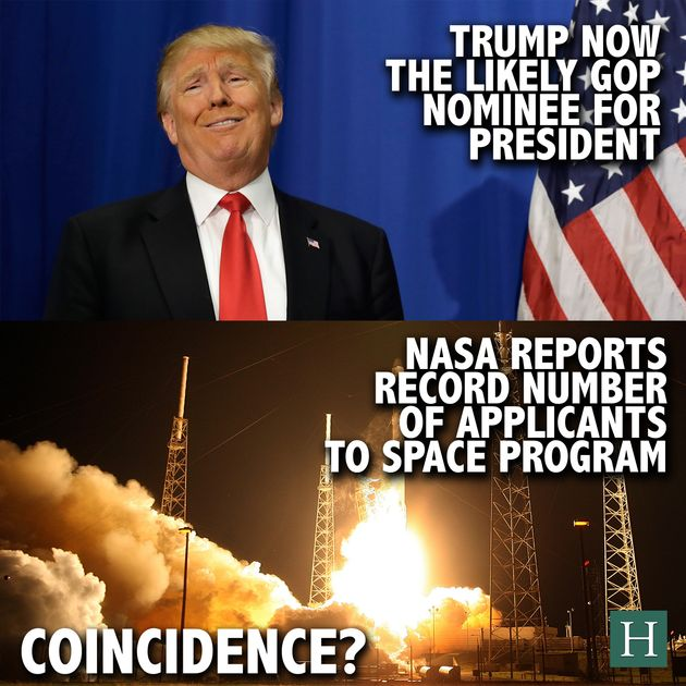 NASA Astronaut Applicants Skyrocket As Drumpf Gains Popularity -- Coincidence?