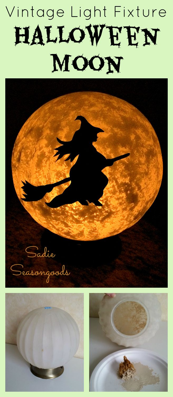 Turning a plain old light fixture from a home salvage or thrift shop into a full, SPOOKY moon for Halloween is SO easy!! And with the addition of a little witch on a broom, you have an inexpensive, creepy piece of Halloween decor that is quick and easy to do! What a fun upcycle / repurpose project from #SadieSeasongoods .