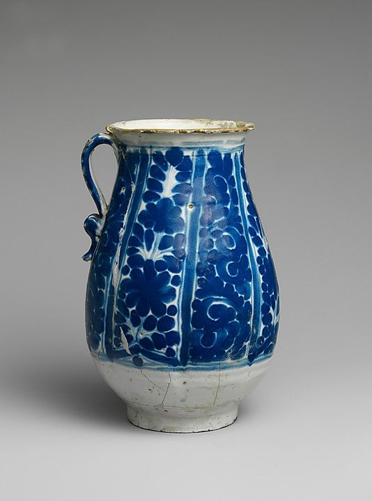 Jug Date: ca. 1800 Geography: Mexico Culture: Mexican Medium: Majolica earthenware Dimensions: H. 8 1/4 in. (21 cm) Classification: Ceramics Credit Line: Gift of Mrs. Robert W. de Forest, 1911 Met, 17.108.6