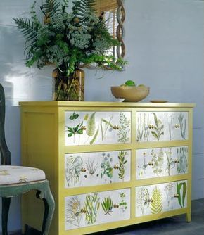 botanical prints have been applied to an old bureau
