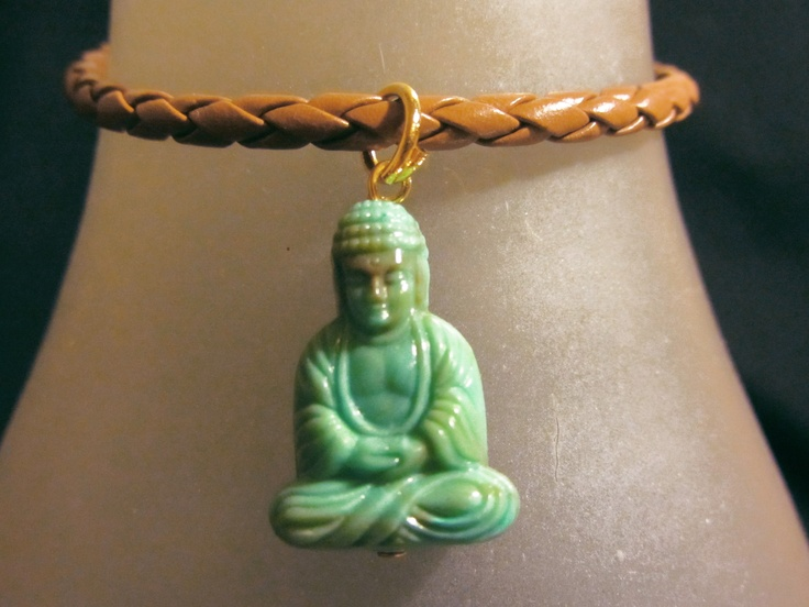 Brown leather Turquoise Buddha bracelet