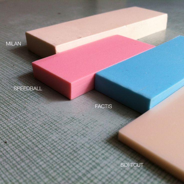 Comparativa de bloques para tallado de sellos: Milan, Factis, Speedball y Softcut / Carving blocks for printing comparison: Milan, Factis, Speedball and Softcut.