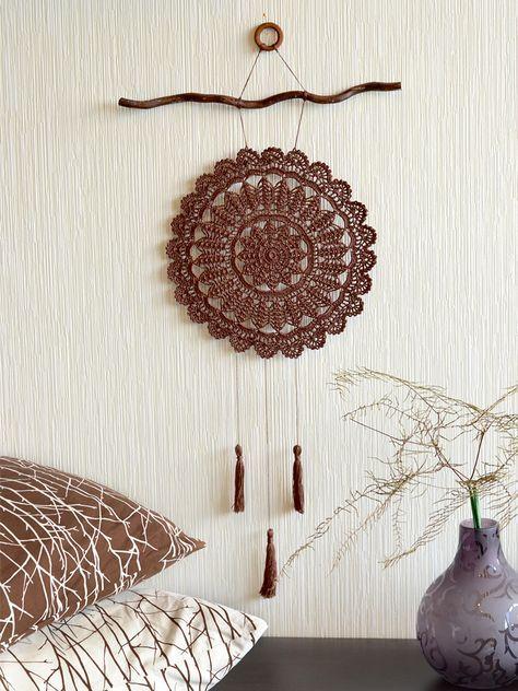 Large crochet dream catcher Crochet wall decor Brown crochet dream catcher Crochet wall hangings Country style home decor