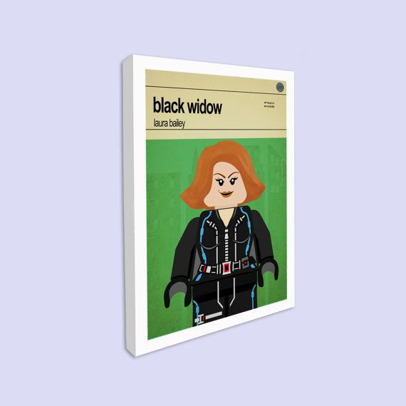 Lego Black Widow - Rolled Canvas Print  This is a stylish canvas print of the Lego Marvel Super Hero Black Widow, fit to grace any man cave or children's bedroom. Hand drawn with a graphics tablet and pen this print is styled with typography and features the actor who voiced Black Widow in the Lego Marvel Super Heroes game and the Lego Super Hero abilities.