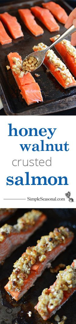 Honey Walnut Crusted Salmon- is a sweet, nutty, and savory entree that's easy enough for a weeknight, but exiting enough for the weekend.