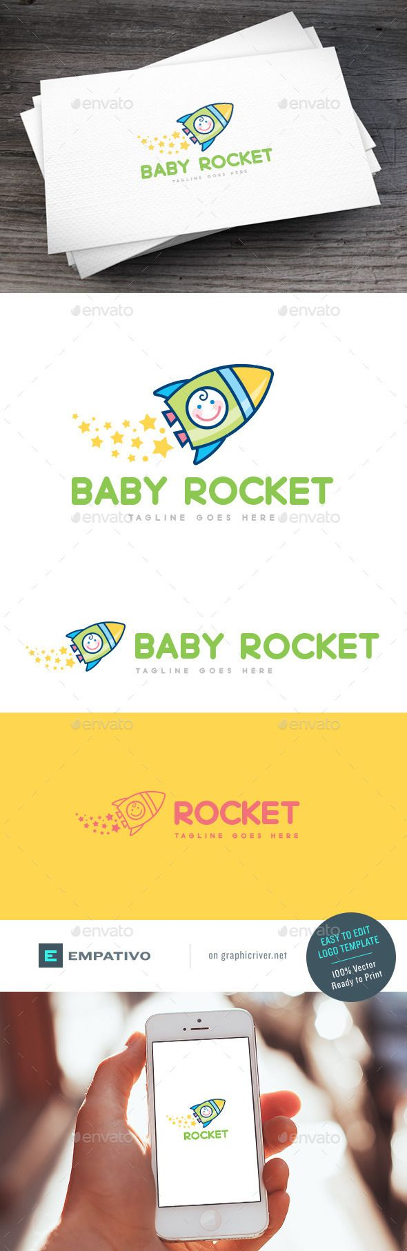 Baby Rocket Logo Template — Vector EPS #kids store #motherhood • Available here → https://graphicriver.net/item/baby-rocket-logo-template/11579869?ref=pxcr