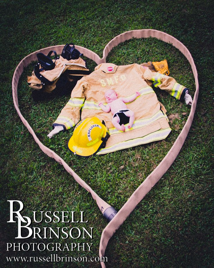 Newborn, Firefighter, Fire Fighter, Gear, Helmet, Gloves, Boots, Hose, Basket, Baby, Pictures www.russellbrinson.com