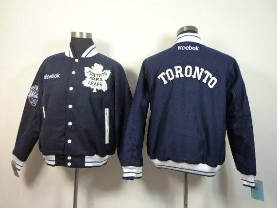 Mens Toronto Maple Leafs Ice Hockey Jacket Standing Collar Real Embroidery And Blue Worsted Size M Xxxl Outerwear Jackets Jackets Leather Jacket