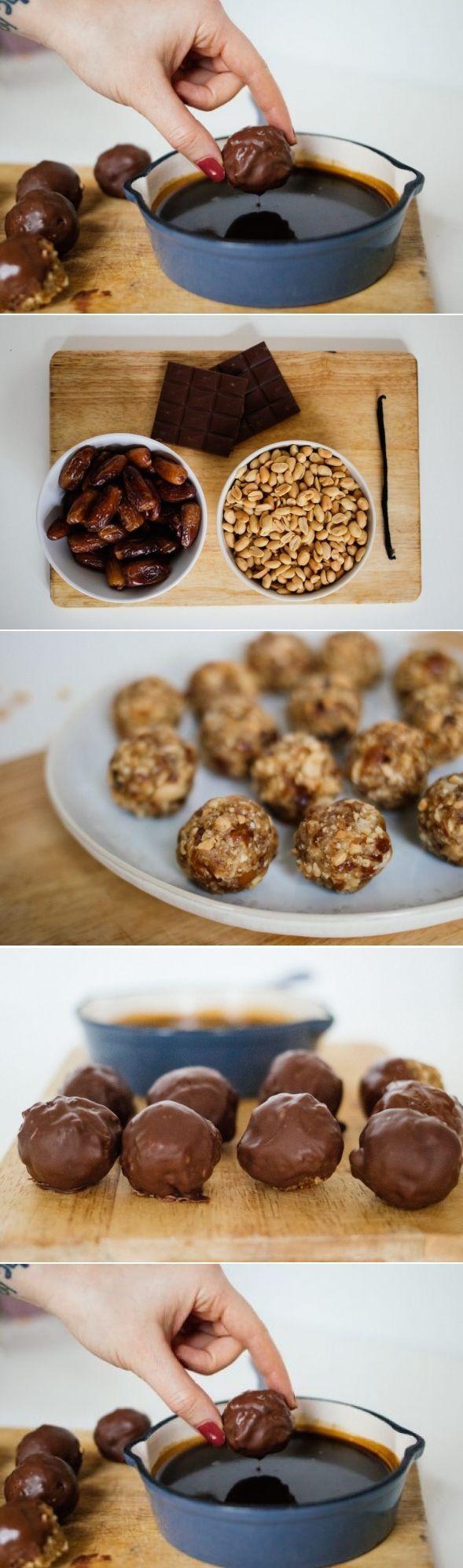 Vegan Snicker Balls with coconut-caramel-dip