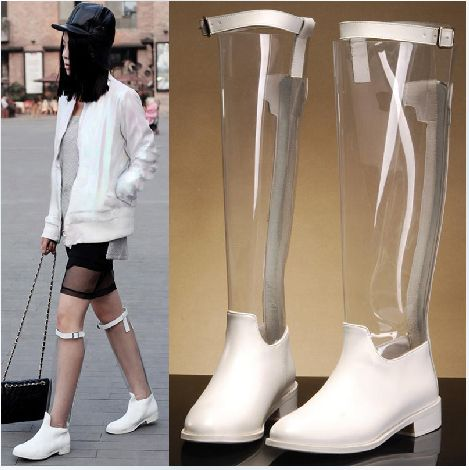 Nuevo 2014 botas de lluvia/blanco y negro/transparente/botas de caballero/agua- una prueba/botas de goma, botas de mujer, sin gastos de envío