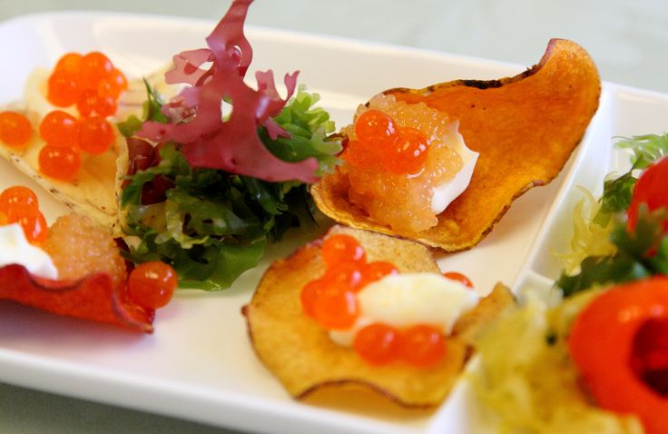 Veggie chips topped with creme fraiche (or vegan sour cream) and Salmon Cavi-art (kelp caviar). Easy, fast and delectable appetizers anytime.  Order yours from Yourfitgrocer.com