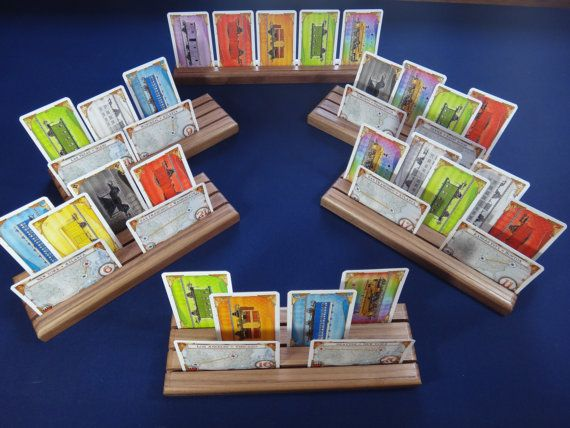 Walnut Game Card Holders - Ticket to Ride Set