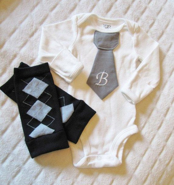 Newborn baby boy tie onesie/bodysuit and leg warmer by mmhandmades