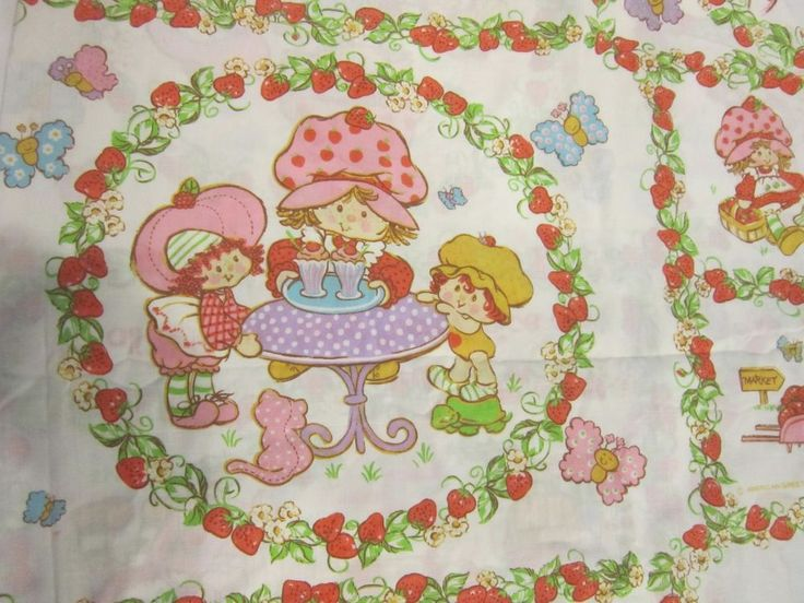 Vintage Strawberry Shortcake Multi Scene Sheet Set Twin Flat Fitted #Unbranded