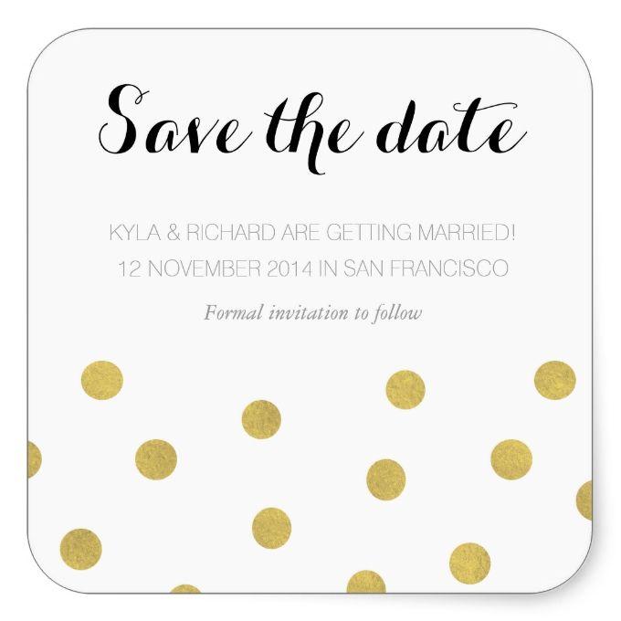Elegant Gold Confetti Save the Date Square Sticker