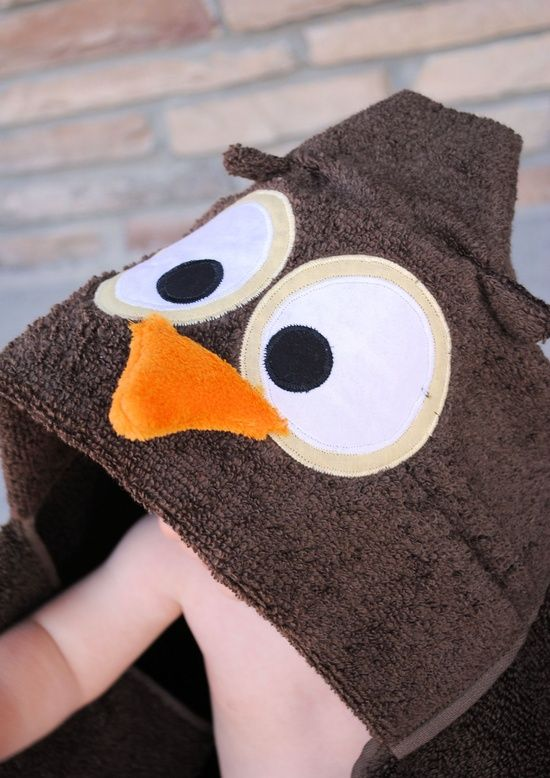 Crazy Little Projects: Owl Hooded Towel Tutorial. (wonder if it could be easily changed to a penguin ??)