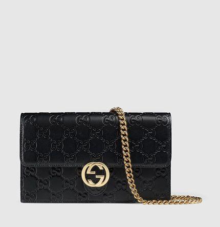 portefeuille Gucci icon en cuir GG avec chaîne