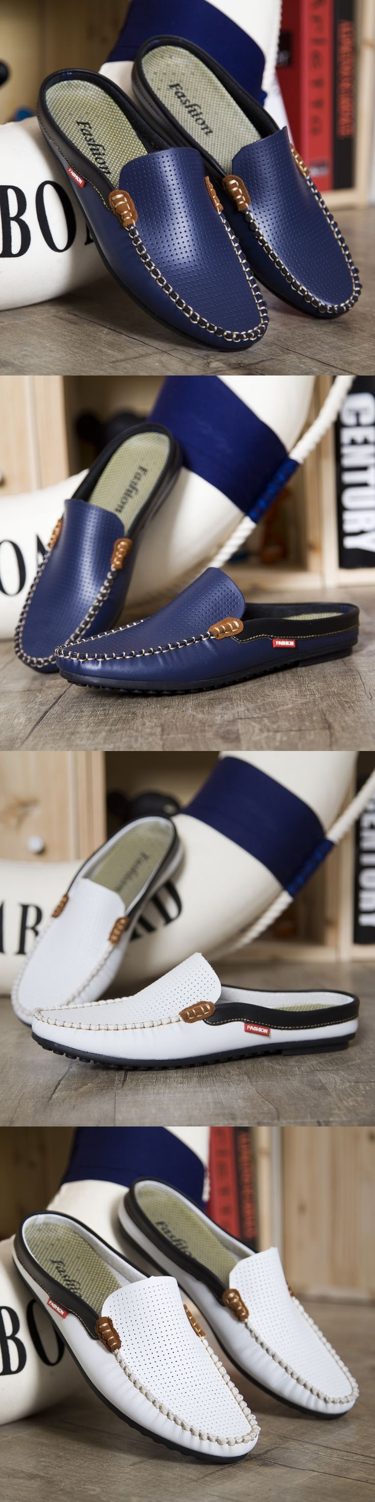 US $19 Men loafers Luxury Brand Shoes Summer men casual shoes Backless Loafers Open Backs Shoes Breathable Leather Men Driving Shoes