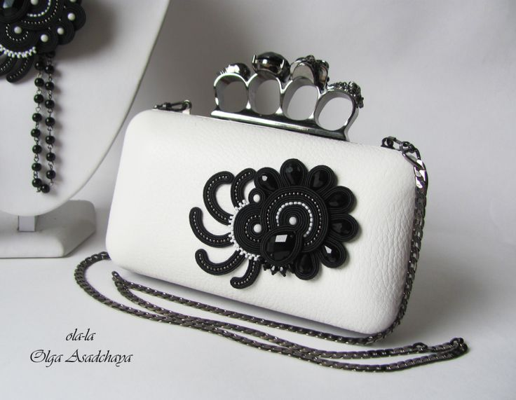 """clutches, earrings, brooch-pendant transformer """""""" Cassiopeia """" soutache, rhinestone jewelry, glass beads, Japanese beads, metal beads, agate, Nat. Italian leather."""