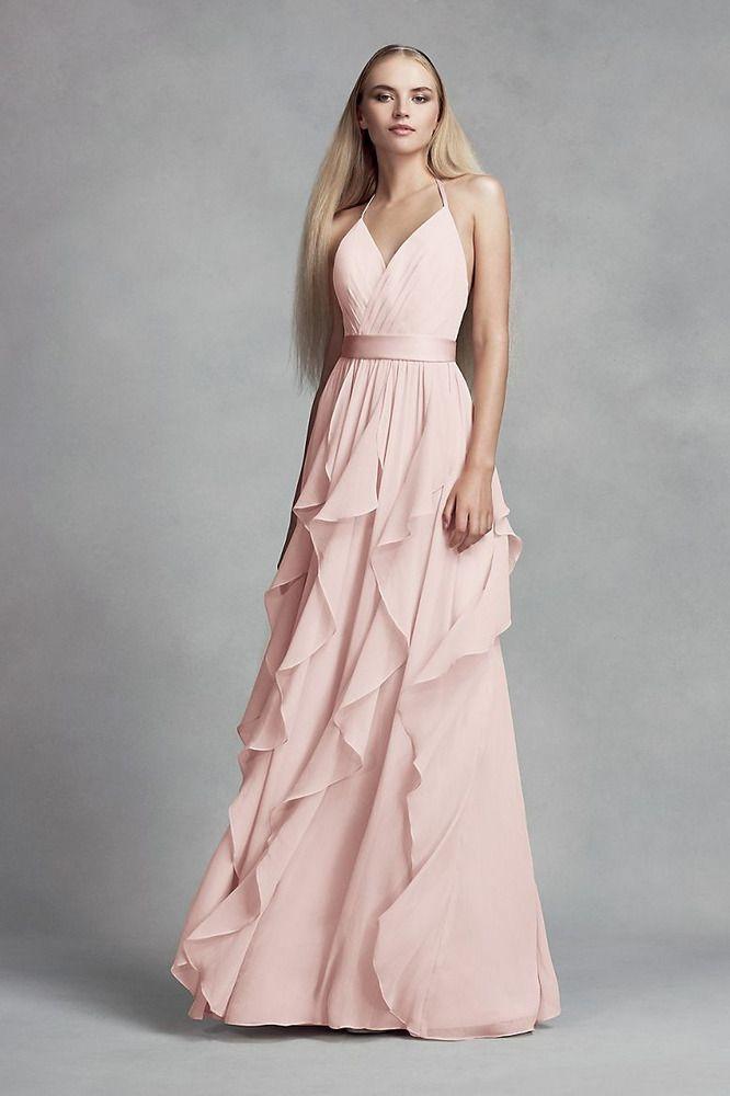 Vera Wang White Cascading Ruffle Chiffon Bridesmaid Dress Halter 12 L Blu Davids Bridal Bridesmaid Dresses Vera Wang Bridesmaid Dresses Pink Bridesmaid Dresses