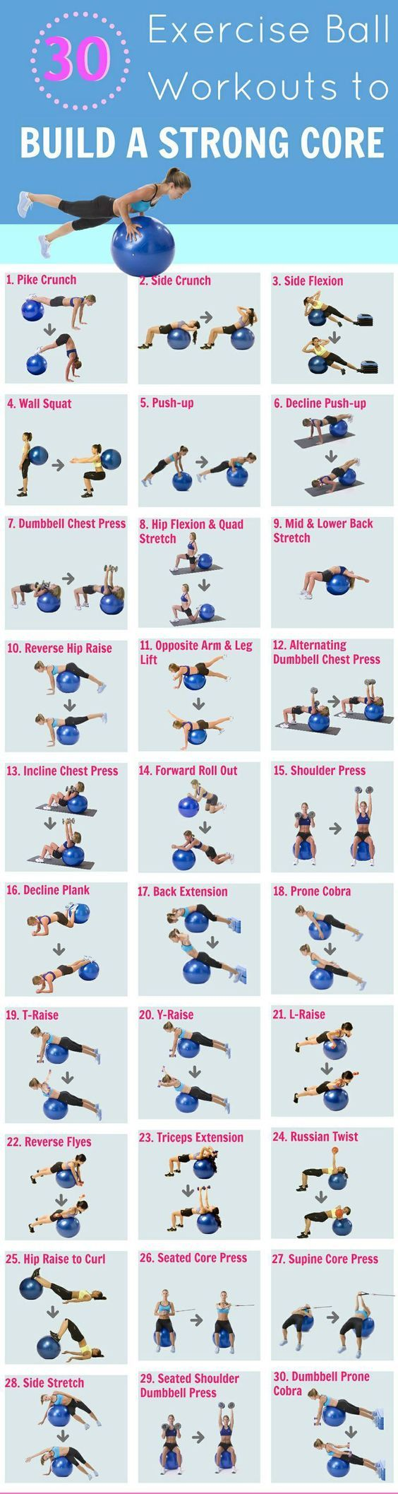 30 exercise ball workouts: A fitness ball is a must have for every home gym workout as they make exercises such as the crunch, butt bridge, push up, prone cobra more fun and challenging. A list of 30 stability ball exercises to get you started. Invite me to your fitness boards ! thanks ! Home Gyms