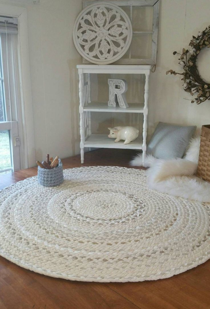 "38"" natural braided rug made from cotton shabby chic style"