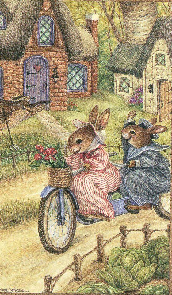 Susan Wheeler Art Dewberry Lane Rabbit Family 4 Prints