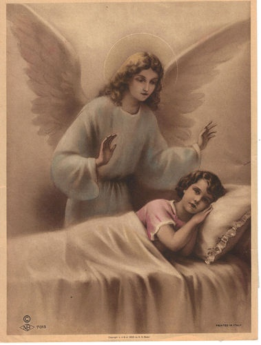 Vintage Catholic Guardian Angel Picture Italy