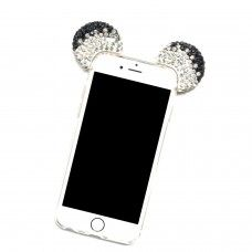 iPhone 7 - Mickey 3D Bling Bling Crystal Ear with Removable Strap TPU Soft Protective Cover Case - Black