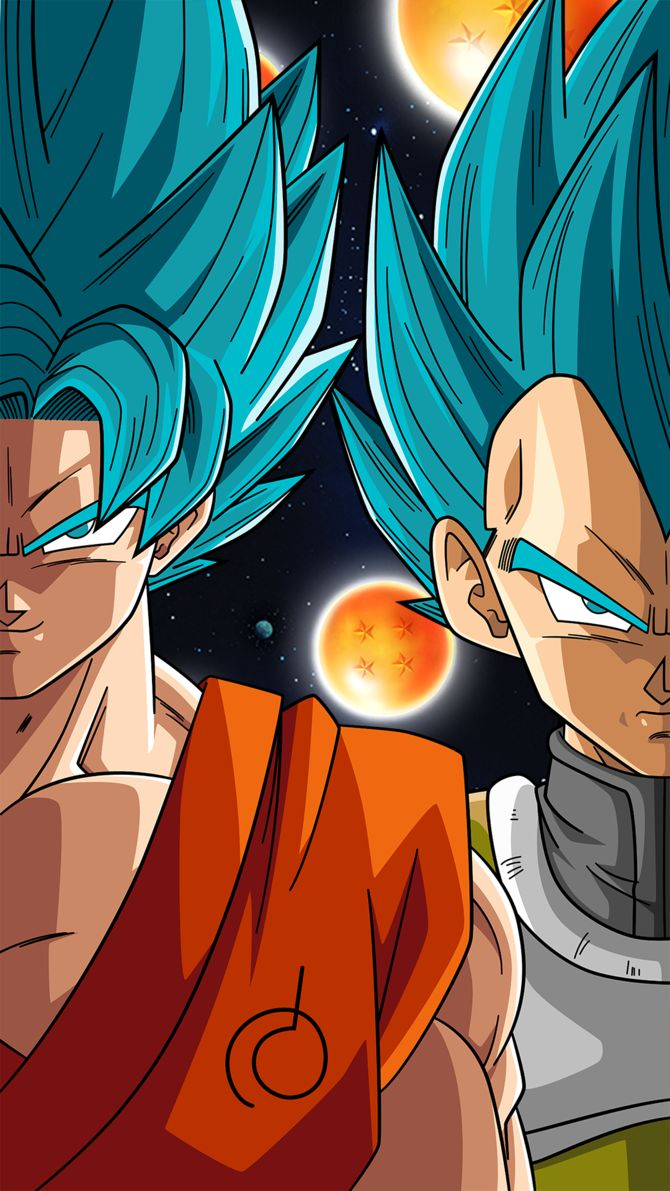 SSB Goku and Vegeta (Phone Wallpaper) by RayzorBlade189 on