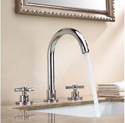 $55, 4 left Solid Brass Widespread Bathroom Sink Faucet Chrome Finish Dual Handles Mixer Tap in Home & Garden,Home Improvement,Plumbing & Fixtures | eBay