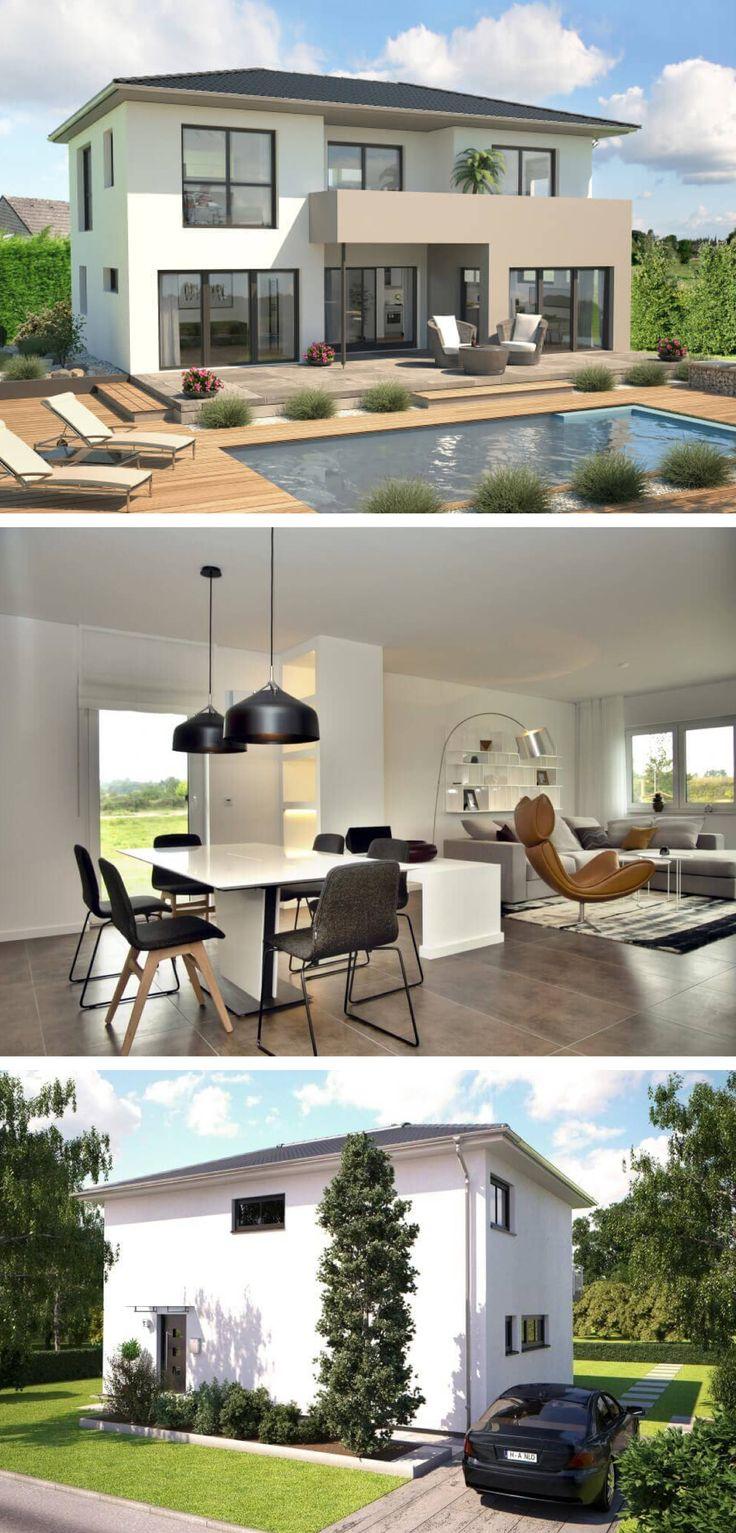 Stadtvilla modern mit Walmdach Architektur Fassaden minimalistisch - Einfamilienhaus Design Top Star S 148 Hanlo Haus Fertighaus Ideen - HausbauDirekt.de